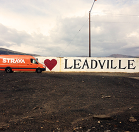 Photo of the Strava Sprinter Van at the Leadville Trail 100