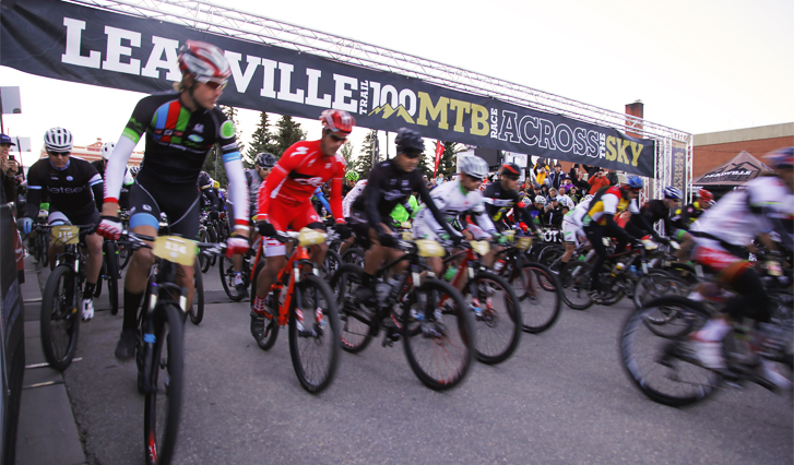 Photo of the Leadville 100 Mountain Bike Race starting line