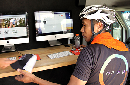 Photo of a cyclist uploading their ride to Strava