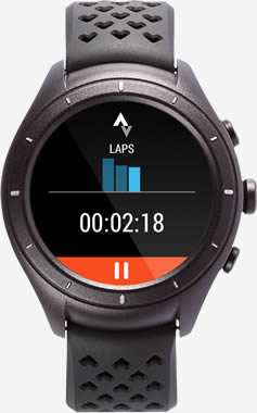 Image of the Android Wear 2.0 watch displaying laps data.